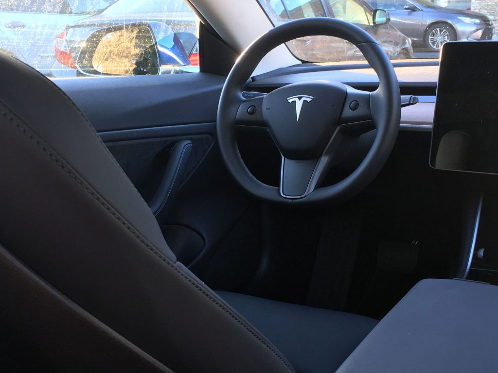 Tesla Model 3 interior - driver seat perspective