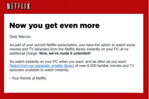 Netflix's e-mail of 2008 to avoid losing subscribers