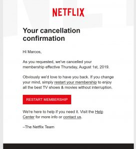 My official Netflix cancellation notice in Aug 2019.  Looking forward--- what's next after video on demand?