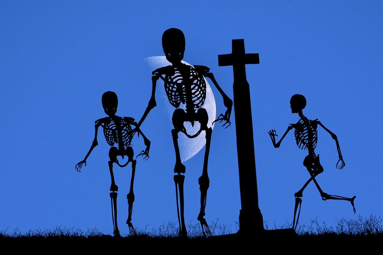 Cemetery Skeletons Silhouettes