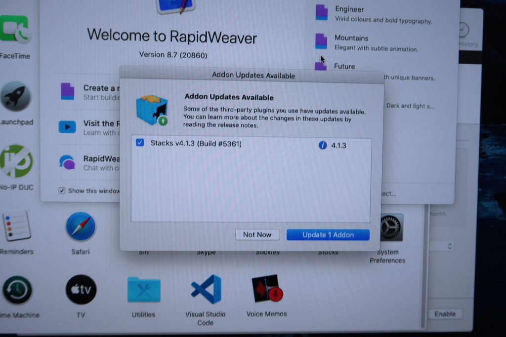 YourHead Software Stacks had evolved together with Rapidweaver.  But always proceed with caution with their updates.